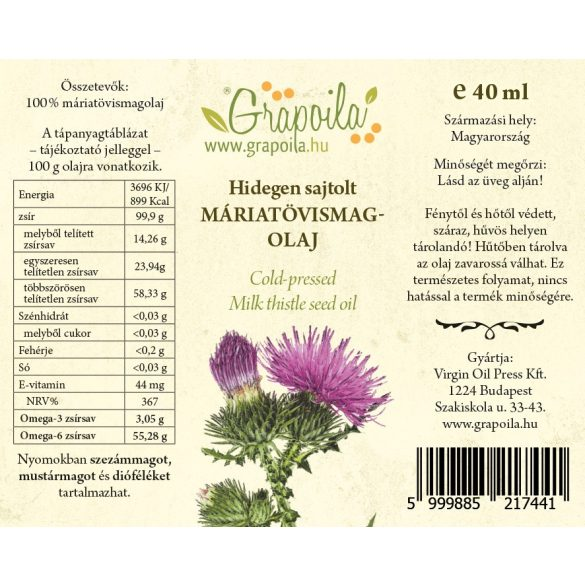 Kóstolódoboz / Csipkés (csipkebogyómag-, máriatövismag-, tökmag-, mák-, szőlőmag-, dióolaj) 6x40 ml