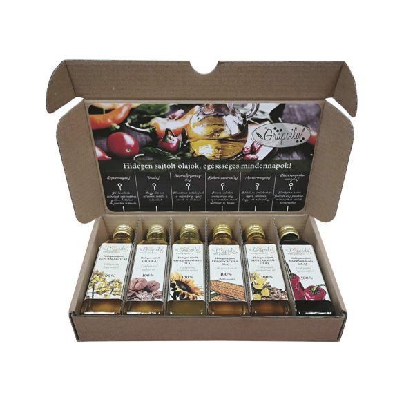 Selection box / cold-pressed oils for cooking and baking (walnut, rapeseed, sunflower seed, paprika seed, corn-germ, mustard seed oil), 6x40 ml
