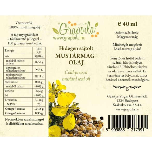 Kóstolódoboz / Sütős-főzős (dió-, repcemag-, napraforgómag-, paprikamag-, kukoricacsíra-, mustármagolaj) 6x40 ml
