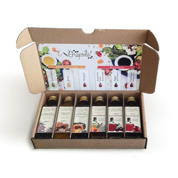 Kernöl-Balsamessig-Probierpackung (Traubenkern-, Walnuss-, und Kürbiskernöl+ Balsamessig aus Holunderblüten, Hagebutten und Sauerkirschen) 6X40 ML