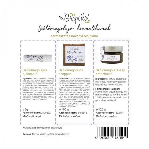 Boîte cosmétique d'huile de pépins de raisin (savon, baume à lèvres, boue)