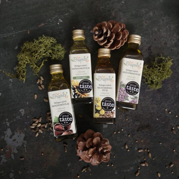 """Grapoila """"Christmas Crackers"""" ajándékcsomag , Great Taste 2020 nyertes olajválogatás 4 x 40 ml"""