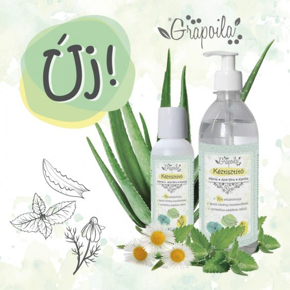 Liquide nettoyant pour les mains menthe, aloe vera, camomille 60 ml
