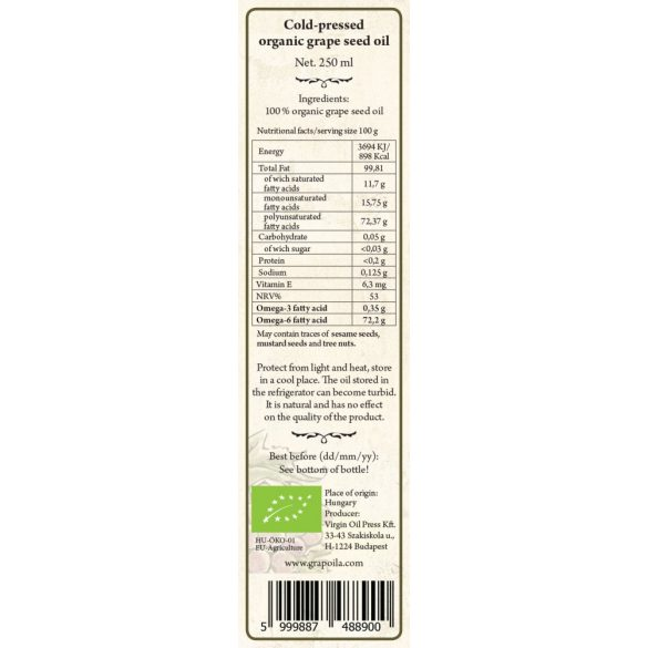 Grapeseed Oil ORGANIC 250 ml