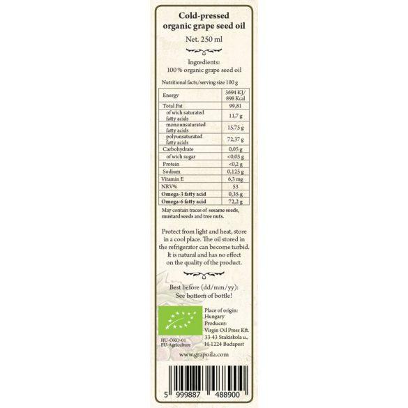 Szőlőmagolaj BIO 250 ml