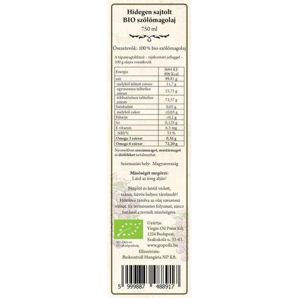 Szőlőmagolaj BIO 750 ml