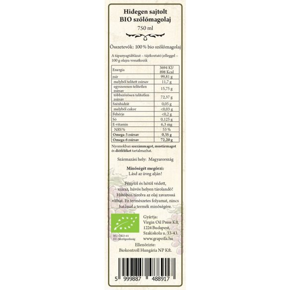 BIO-Traubenkernöl 750 ml