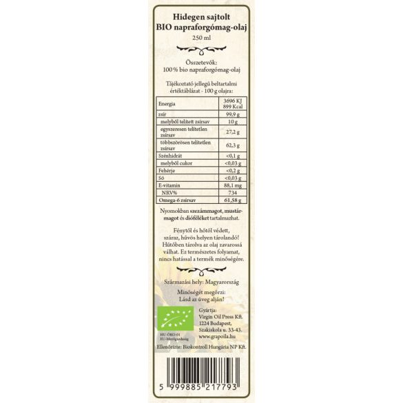 Sunflower oil BIO 250 ml