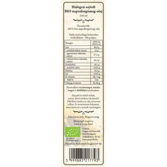 Sunflower oil ORGANIC 250 ml