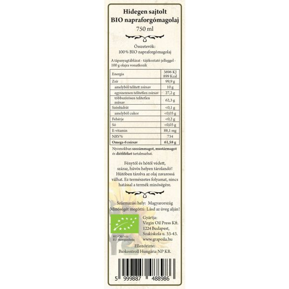 Sunflower Seed Oil ORGANIC 750 ml