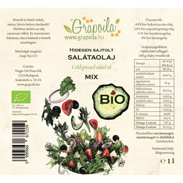 Salátaolaj BIO 1000 ml PET