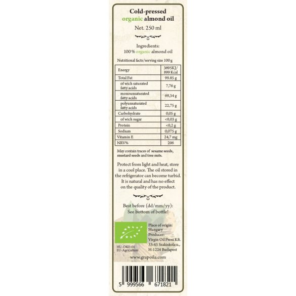 Mandulaolaj BIO 250 ml