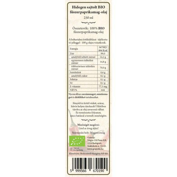 Fűszerpaprikamag-olaj BIO 250 ml