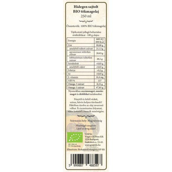 Tökmagolaj (héj nélkül sajtolt) BIO 250 ml