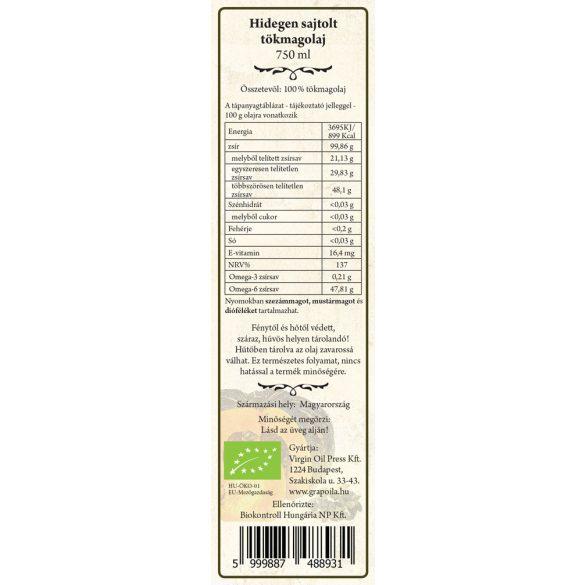 Tökmagolaj (héj nélkül sajtolt) BIO 750 ml