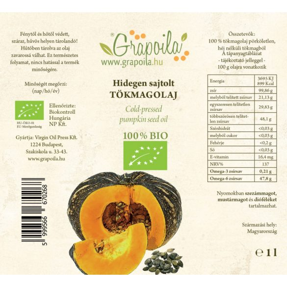 Pumpkin seed oil ORGANIC 1000 ml from unshelled pumpkin seed