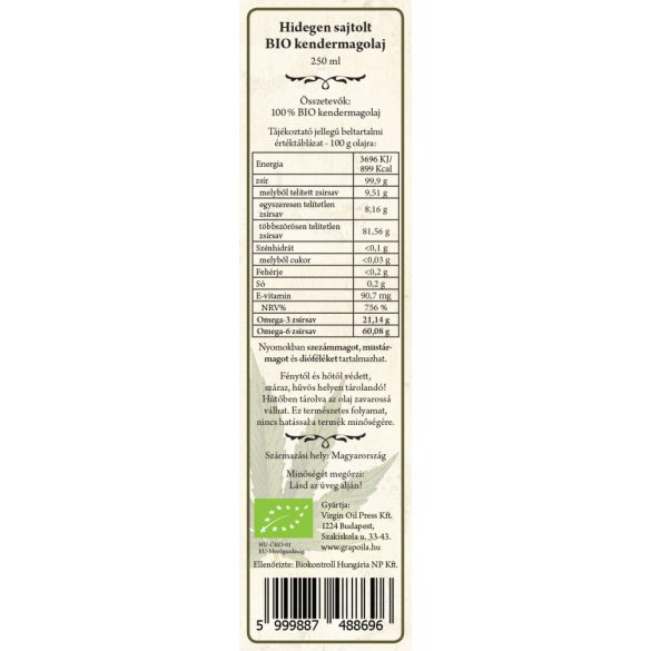 Hemp Seed Oil ORGANIC 250 ml