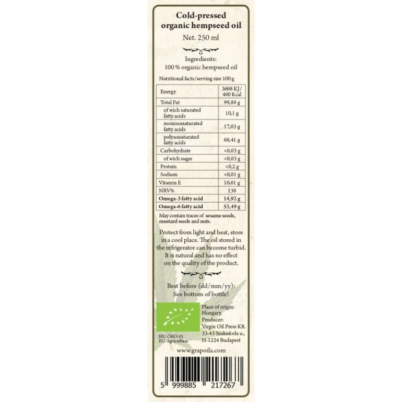Kendermagolaj BIO 250 ml