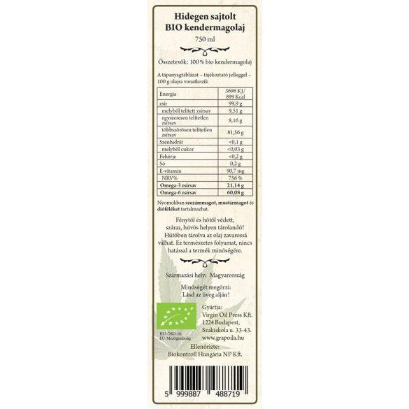 Kendermagolaj BIO 750 ml
