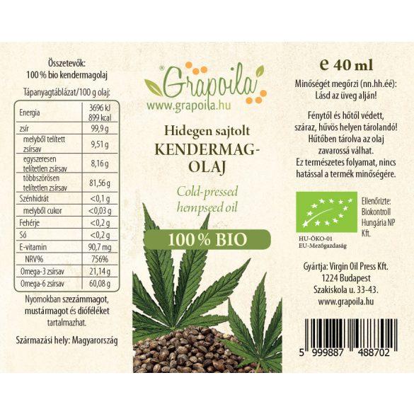 Kendermagolaj BIO 40 ml