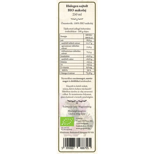 Poppy seed oil ORGANIC 250 ml