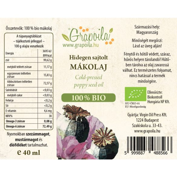 Mákolaj BIO 40 ml