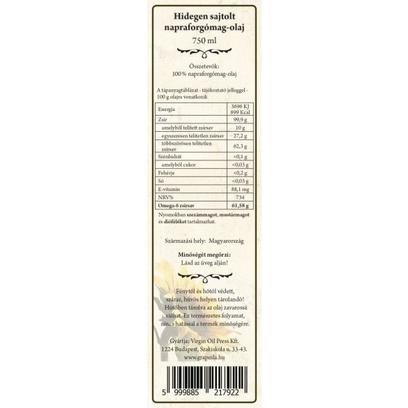 Sunflower Seed Oil 750 ml