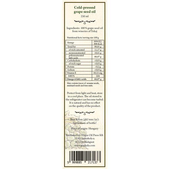 Grape seed oil 250 ml from Tokaj