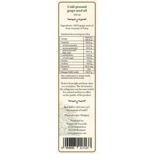 Huile de pépins de raisin 250 ml de Tokaj