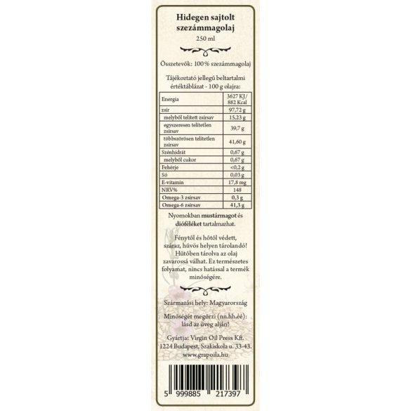 Szezámmagolaj 250 ml
