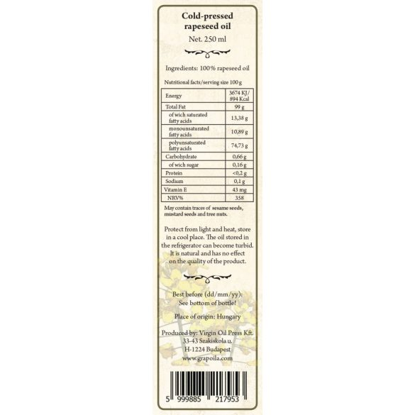 Rapeseed Oil 250 ml