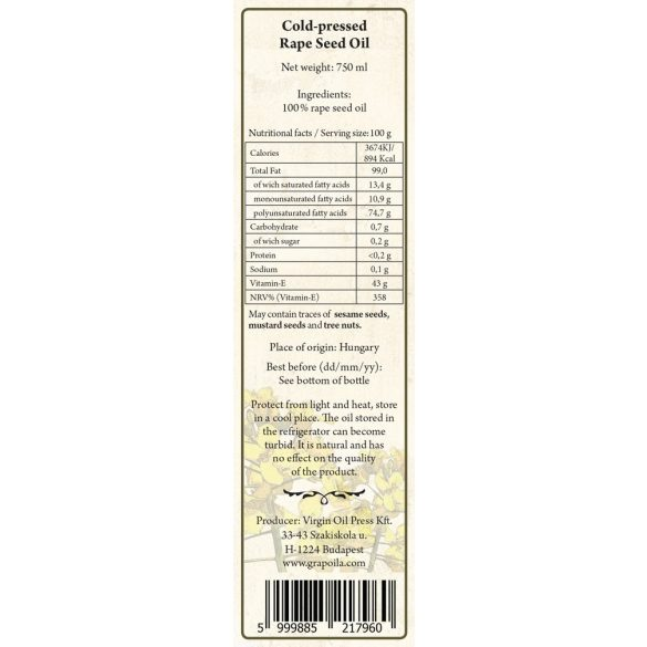 Rapskernöl 750 ml