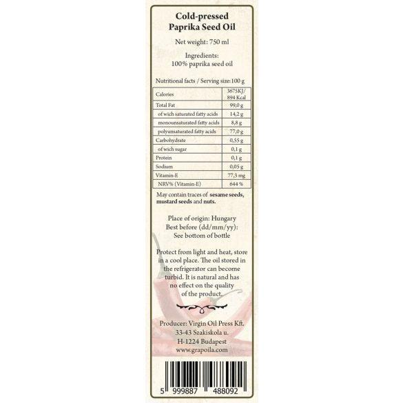 Fűszerpaprikamag-olaj 750 ml