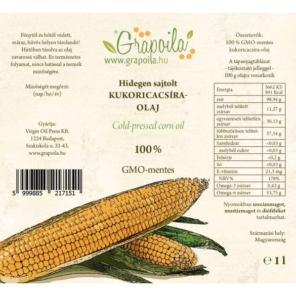 Kukoricacsíra-olaj 1000 ml PET