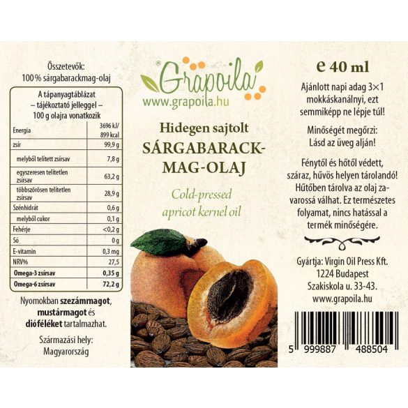 Sárgabarackmag-olaj 40 ml
