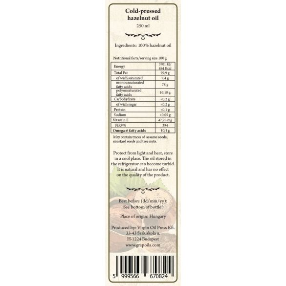 Hazelnut Oil 250 ml