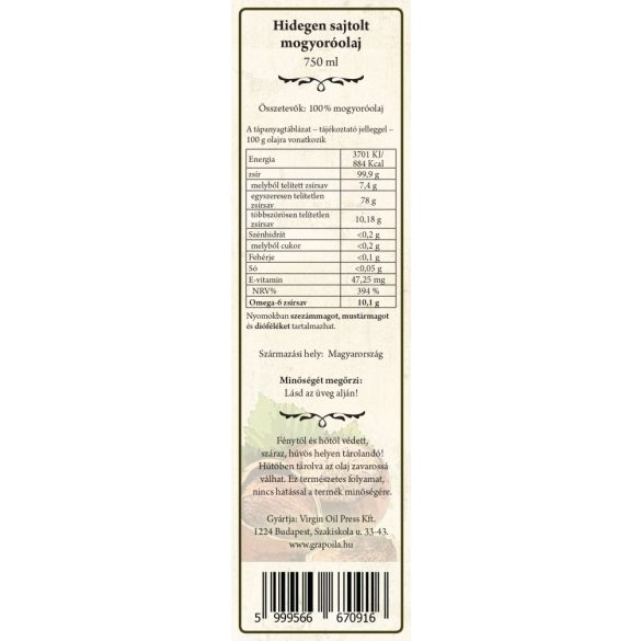 Hazelnut Oil 750 ml