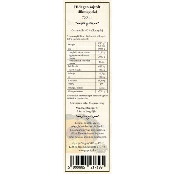 Huile de pépins de courge (pressée sans coque) 750 ml