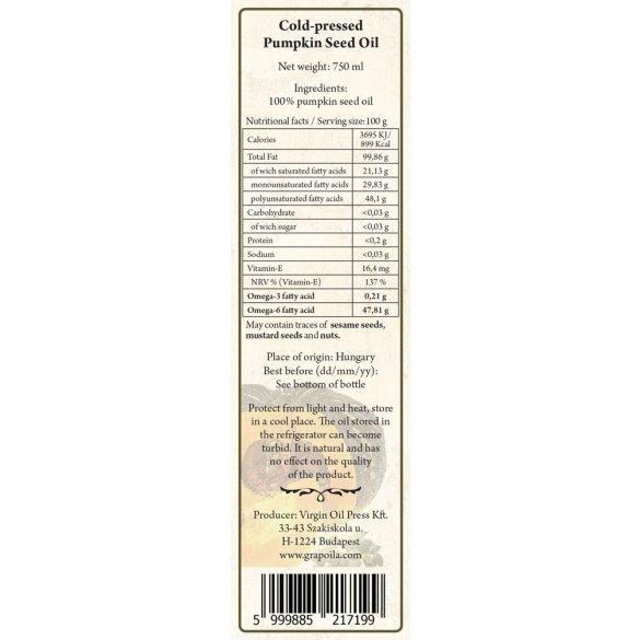 Tökmagolaj (héj nélkül sajtolt) 750 ml