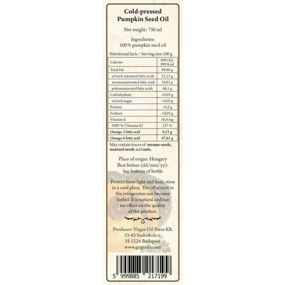 Kürbiskernöl aus Kernen mit Schale 750 ml