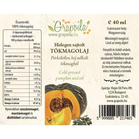 Tökmagolaj (héj nélkül sajtolt) 40 ml