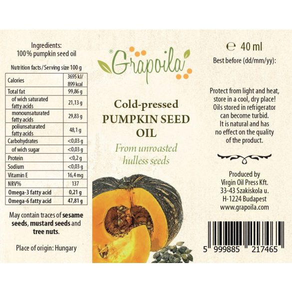 Pumpkin seed oil 40 ml PET from unshelled pumpkin seeds