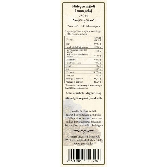 Leinsamenöl 750 ml