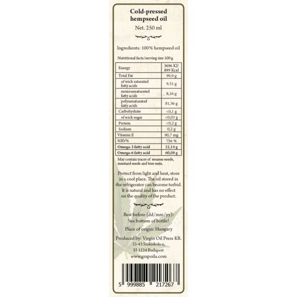 Hanfsamenöl aus Speisehanf Hanföl ist eines der schmackhaftesten, charakteristischsten Öle. Wir empfehlen es zum nachträglichen Verfeinern von Speisen, zu Salaten, Cremesuppen. Es schmeckt ausge250 ml
