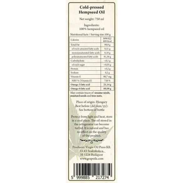 Kendermagolaj 750 ml