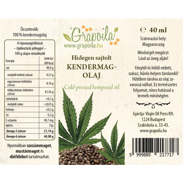 Kendermagolaj 40 ml