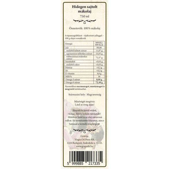 Mákolaj 750 ml