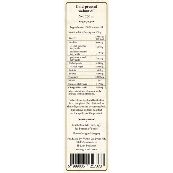 Dióolaj 250 ml