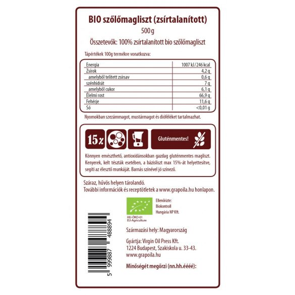 Vörös szőlőmagliszt BIO 500g