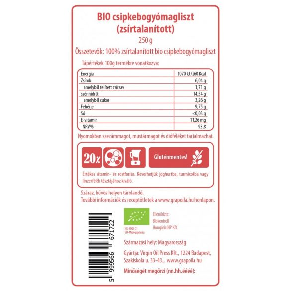 Csipkebogyómagliszt BIO 250 g